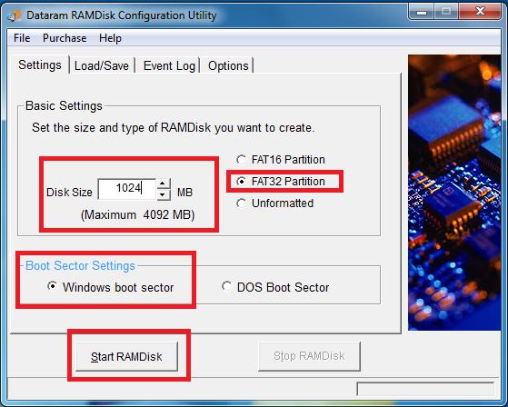 Dataram RamDisk Cofiguration