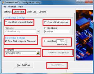 Dataram RamDisk Cofiguration - создание образов