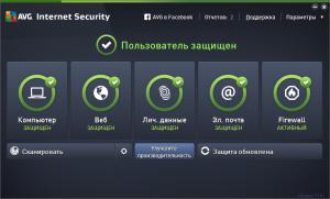 AVG Internet Security 2015 главное меню