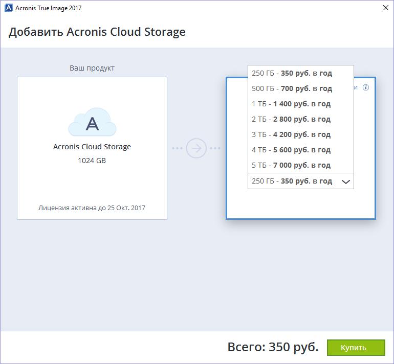 Acronis True Image 2017 – расширение дискового пространства облачного хранилища
