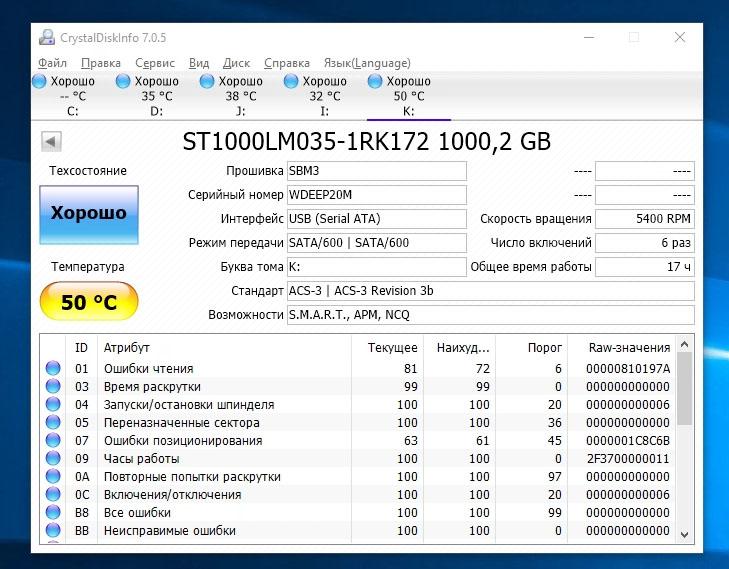 Температура жёсткого диска HD710 Pro
