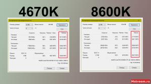 Тесты в 7zip (Intel Core i5 4670K VS 8600K)