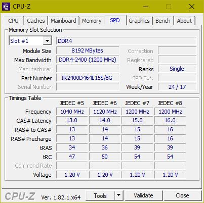 CPU-Z. Оперативная память DDR4 GoodRam Iridium
