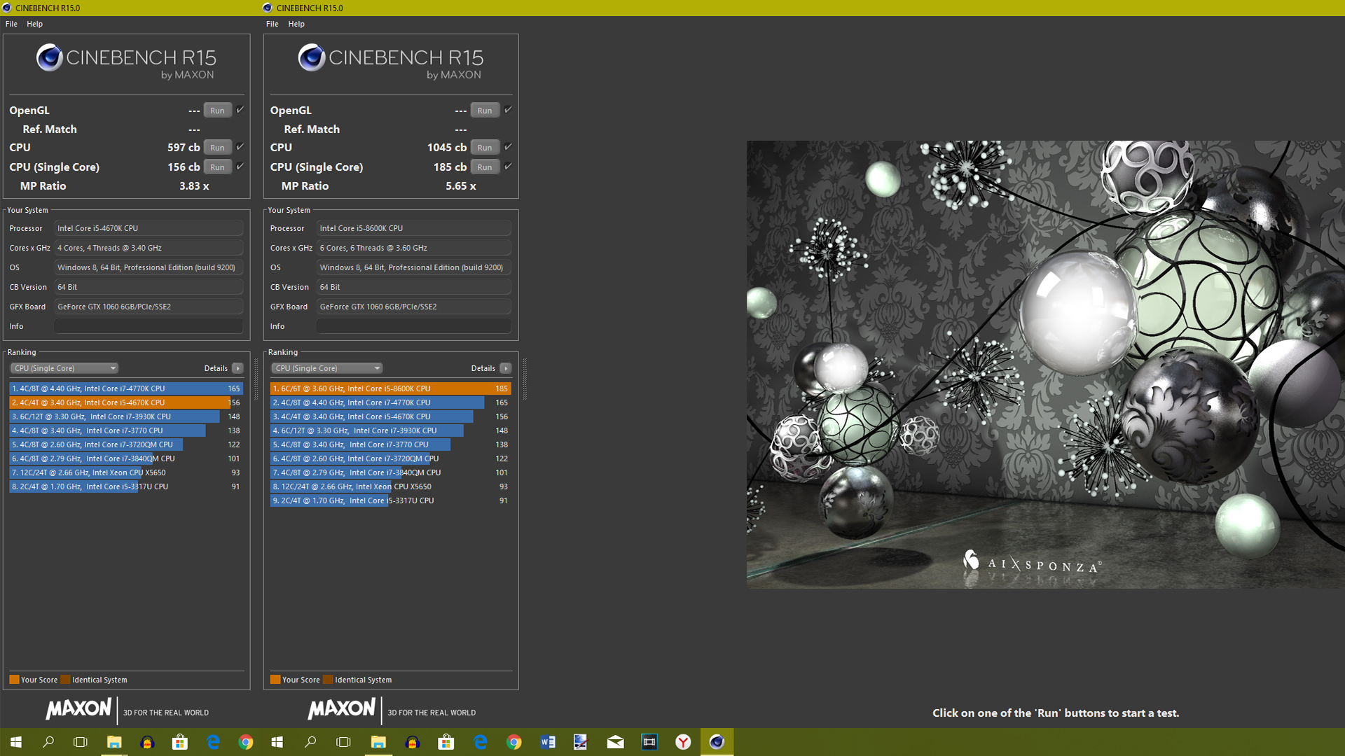 Cinebench R15 (Intel Core i5 8600K)