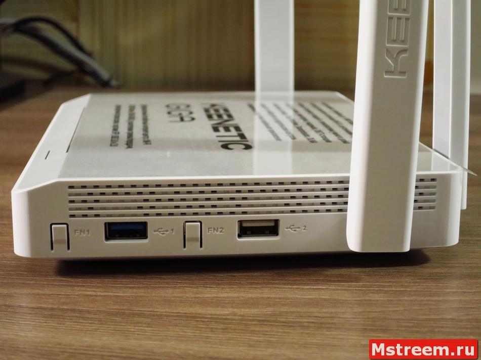Функциональные клавиши и USB порты роутера Keenetic Giga KN-1010
