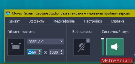 Выбор области экрана для захвата Movavi Screen Recorder