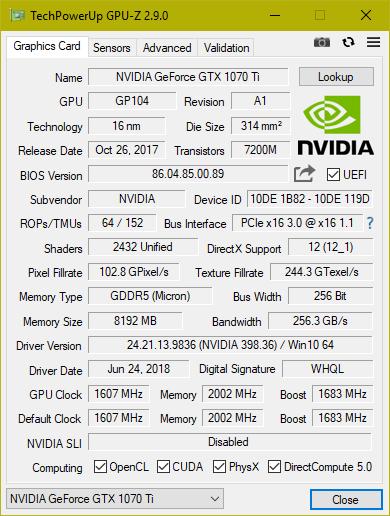GPU-Z Inno3D GTX 1070ti iChill X3