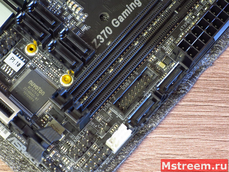 SATA коннекторы и подключение передней панели корпуса. ASRock Fatal1ty Z370 Gaming-ITX/ac