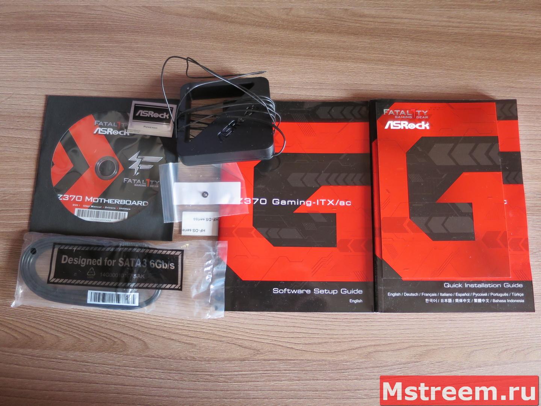 Комплект поставки материнской платы ASRock Fatal1ty Z370 Gaming-ITX/ac