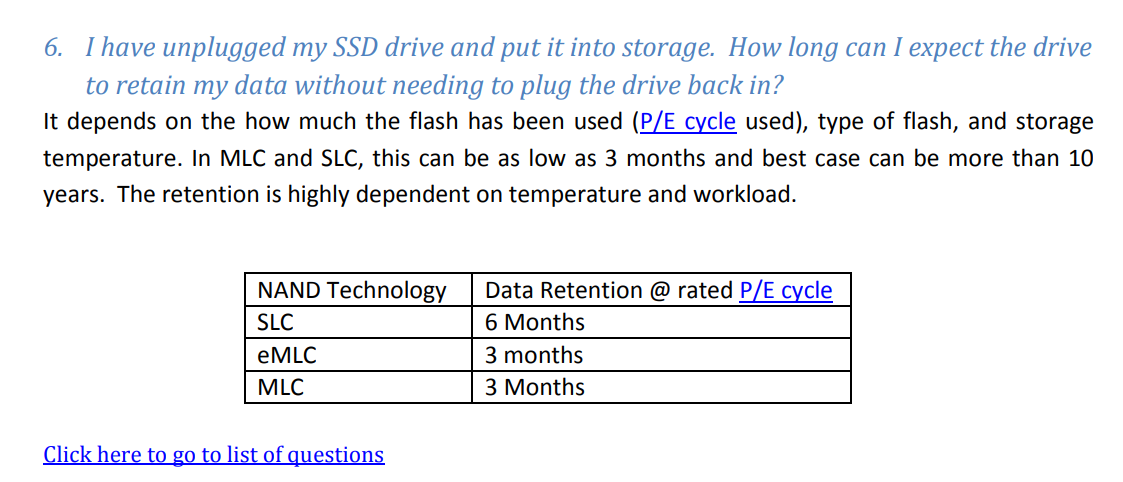 Сколько информация хранится на SSD без электричества?