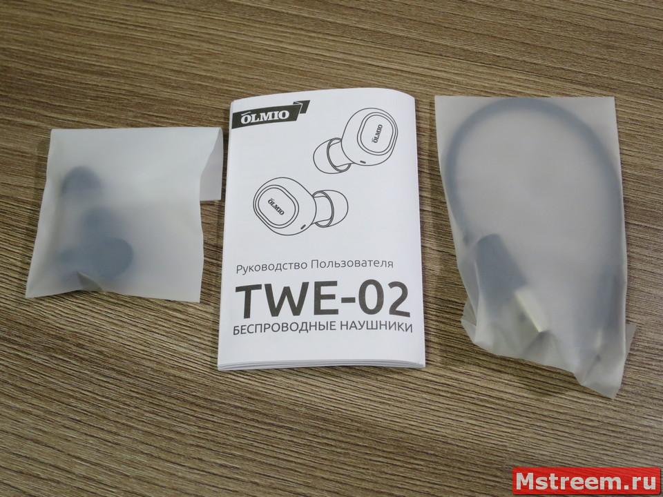 Комплект поставки Bluetooth наушников Olmio TWE-02