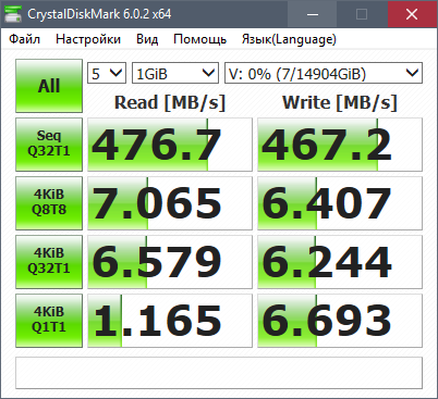 CrystalDiskMark: Производительность жёсткого диска Seagate Iron Wolf 8 ТБ ST8000VN0022 (RAID0 16 ТБ)