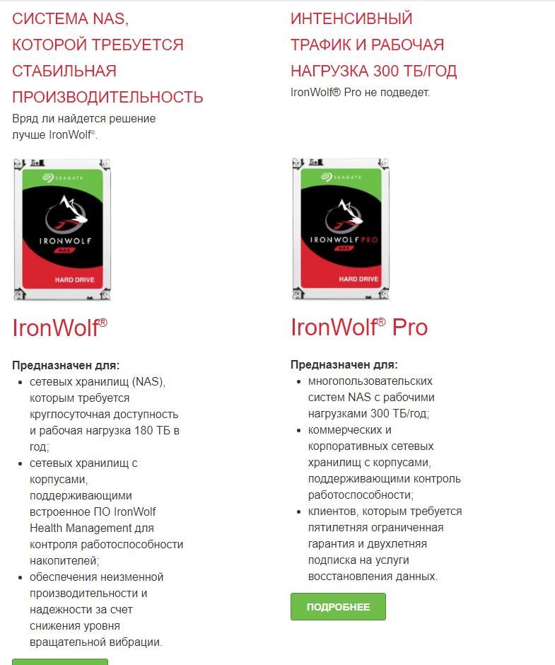 Линейка Жёстких дисков Seagate Iron Wolf