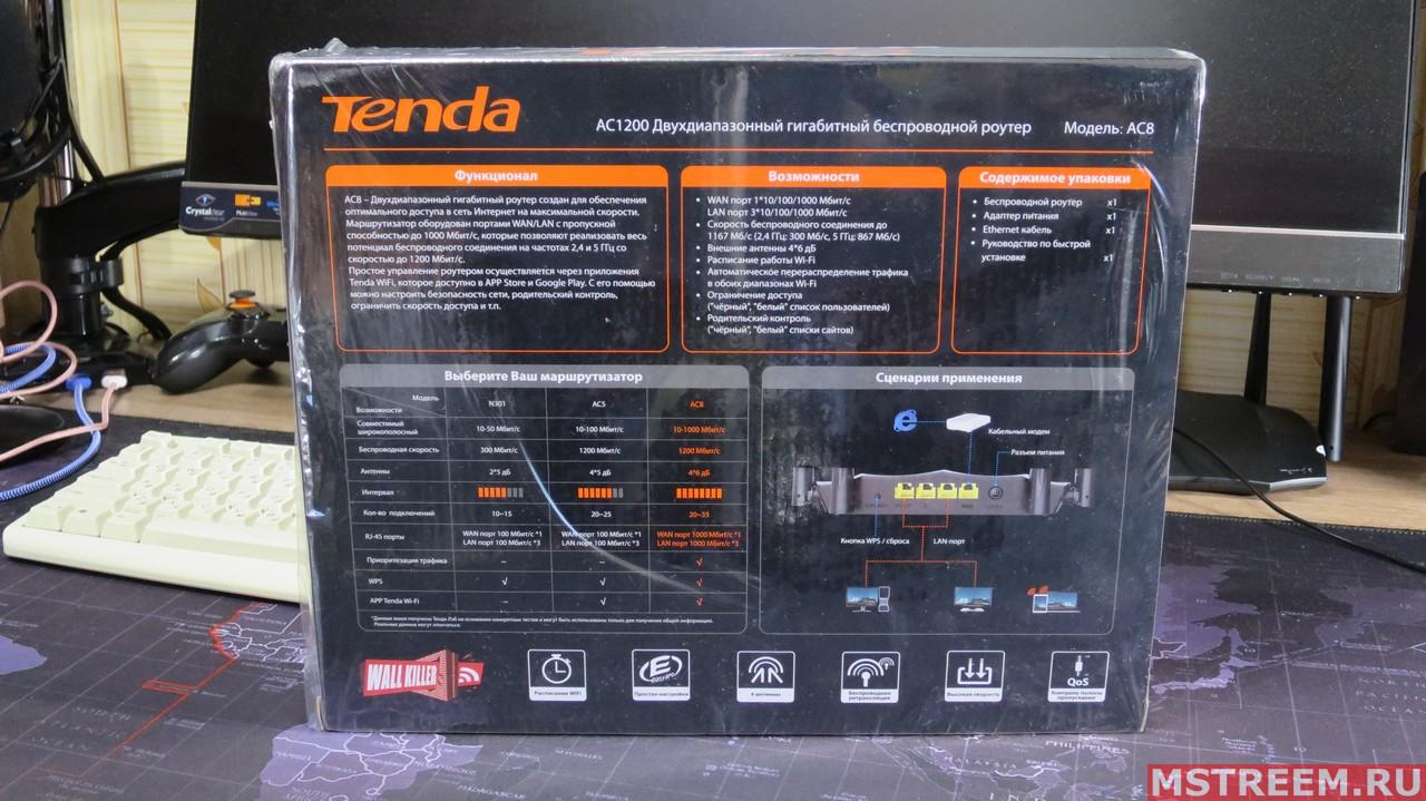 Коробка с роутером Tenda AC8