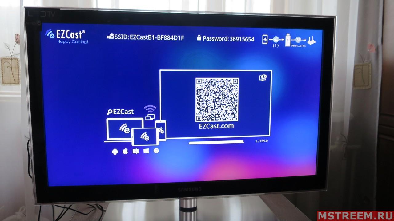 Подключение медиаплеера EZCast Band 1 к телевизору
