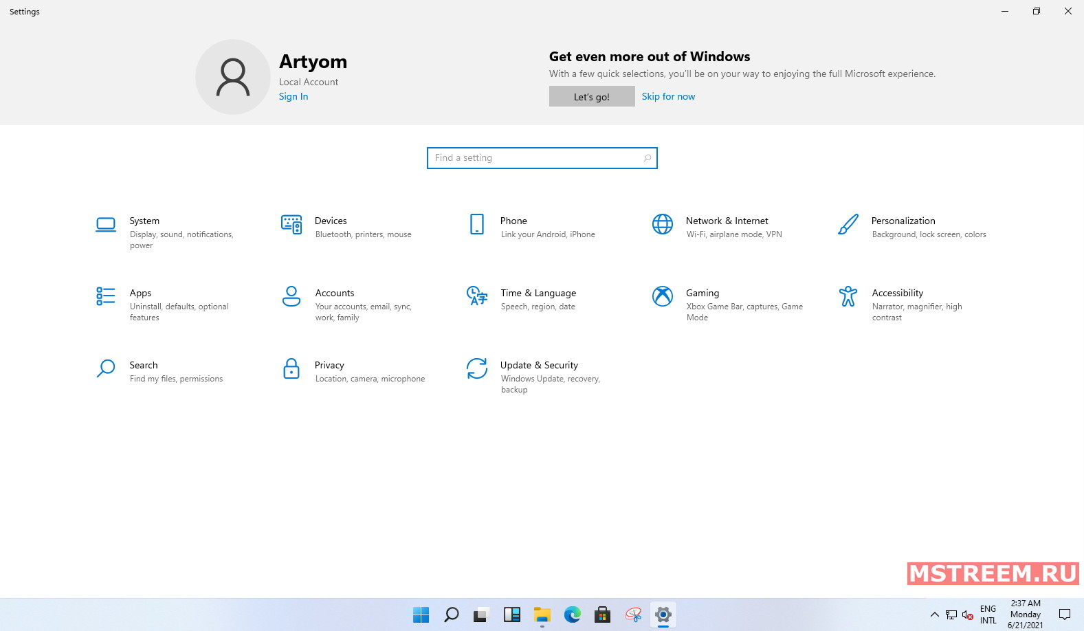 Параметры операционной системы Windows 11