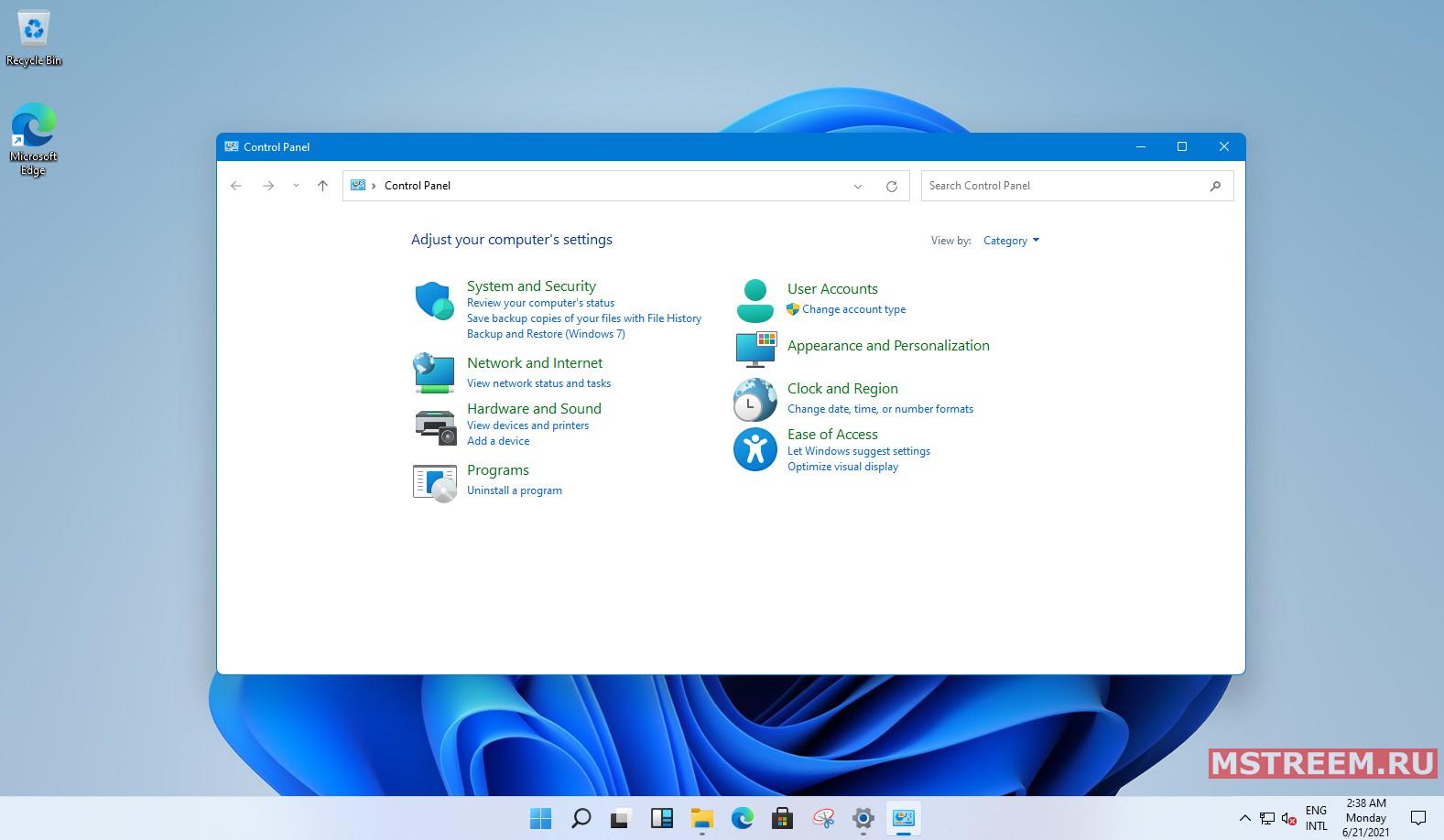 Панель управления операционной системы Windows 11